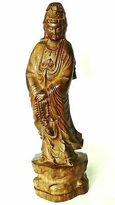 ANTIQUE19c CHINESE TEAK WOOD CARVED QUAN-YIN STATUE W/BUDDHA IN HER HAND