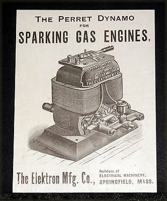 1900 Old Magazine Print Ad, Elektron, Perfect Dynamo For Sparking Gas Engines!
