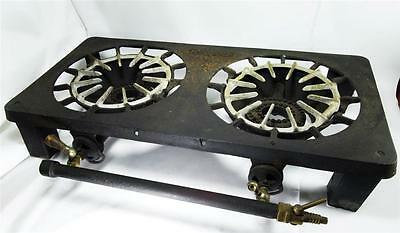 Antique GRISWOLD 202 Erie PA Double Two Burner Cast Iron Camp Cabin Stove Gas