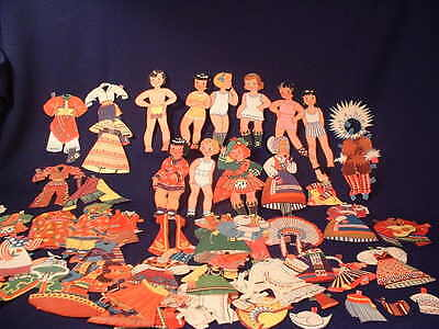 Vintage 1940's Paper Dolls Cut-Outs Of The World