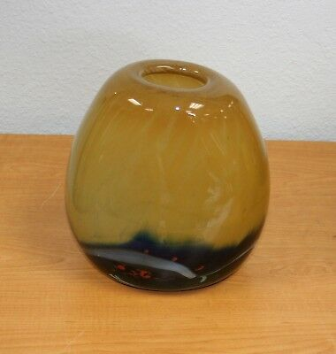 SIGNED HAND BLOWN  GLASS VASE AMBER & BLUE /OVAL/ BY ROMANIAN ARTIST