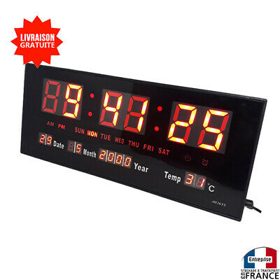 Horloge Mural A Affichage Digitale Avec LED ROUGE Rectangulaire Date Heure
