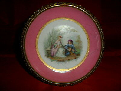 ANTIQUE SEVRES SAUCER DISH WITH METAL FRAME