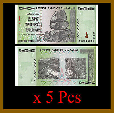 Zimbabwe 50 Trillion Dollars x 5 Pcs Bundle, 2008 AA, 100 Trillion Series Unc