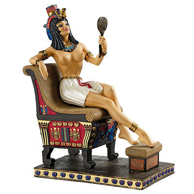 Egyptian Pharaoh's Admiring Queen of the Nile Throne Sculpture Statue