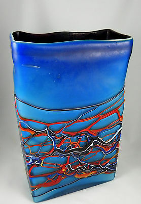 Azerbaijan Glassware Russian Handblown glass vase with color overlay designs