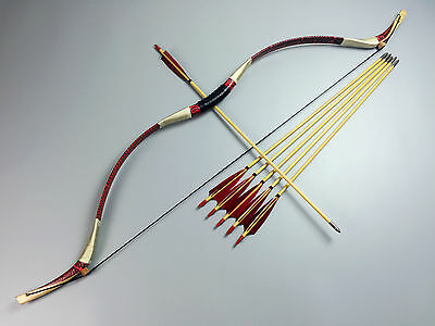 70LB Pretty Red Snakeskin Recurve Bow+6 wood arrows+string Mongolian Longbow HOT