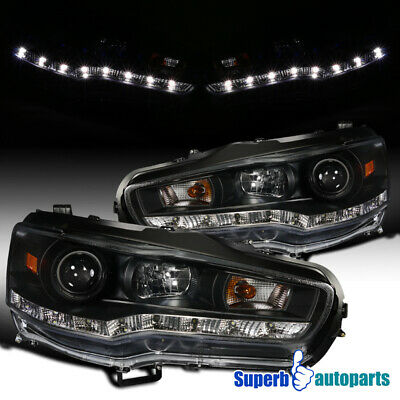 2008-2015 Evo X Lancer Led DRL Projector Headlights Lamps Black SpecD Tuning