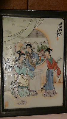 "Antique 19C Chinese Porcelain Hand Painted Famille Verte Plaque ""three Women"""