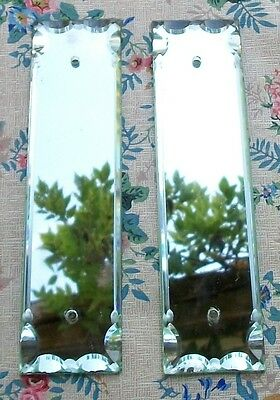 Two Antique French Mirrored Bevelled Glass Door Panels Finger plates push plates