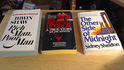 3 Paperback--Rich Man Poor Man-The Amityville Horror-The Other Side of Midnight
