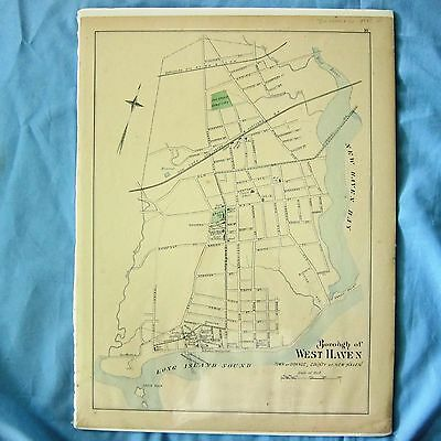 D H HURD ATLAS  MAP 1893  Hand Colored CT West Haven New Haven County ORIGINAL