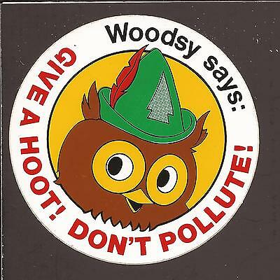 Vintage 1970s Woodsy Owl Give a Hoot! Don't Pollute! Sticker - Decal