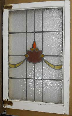 "LARGE OLD ENGLISH LEADED STAINED GLASS WINDOW Sheild Swoop design 21.75""x34.75"""