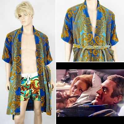 Vtg 1960's Tapestry TeRRY CLoTH SuRfeR BeaCH CaBaNa HIPPiE Robe Steve McQueen