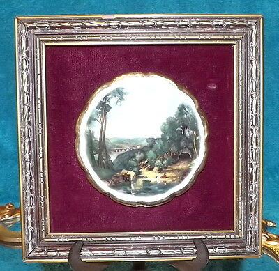 ANTIQUE WALL MOUNTED PAINTING ON PORCELAIN WITH GOLD GILDED PICTURE FRAME
