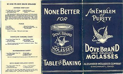1920's Dove Brand New Orleans Molasses Recipe Foldout Booklet - Cincinnati,OH