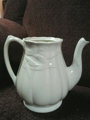 "Antique Royal Staffordshire Wilkinson Ironstone""Wheat""White TeaPot,England"