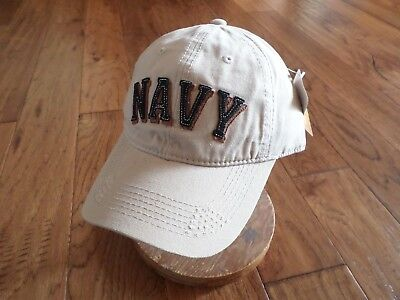 55839da587c11 U.S MILITARY NAVY Hat Embroidered Raised Letters Khaki Distress Ball ...
