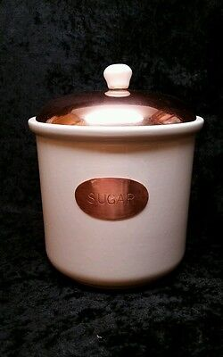 CERAMIC SUGAR CANISTER WITH COPPER LID