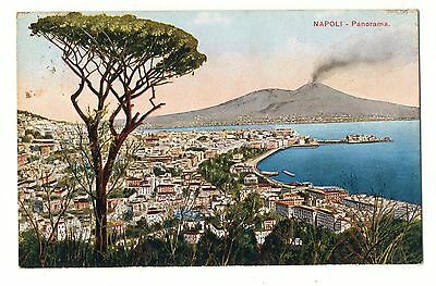 Old Town View & Mt Vesuvius Early 1900s Italy Vintage Postcard