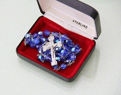 Vintage Catholic Rosary - Sterling Silver & Blue Crystal Beads