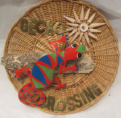 Decorative GECKO CROSSING Sign, Driftwood, Sea Shell, Hand Crafted Wall Hanging