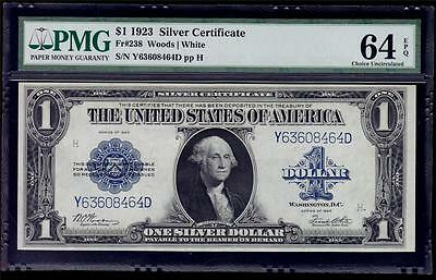 Fr 238 1923 $1 Silver Certificate PMG Choice Uncirculated 64 EPQ