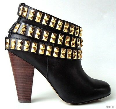 new BETSEY JOHNSON 'Camper' black leather GOLD STUDS shoes ANKLE BOOTS 6.5 SEXY