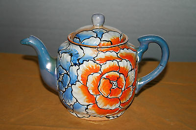 Blue and Orange Floral Lusterware Teapot Japan