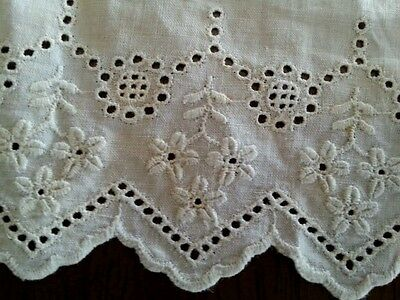 Antique Whitework Lace Remnant Trim Edwardian Broderie Anglaise
