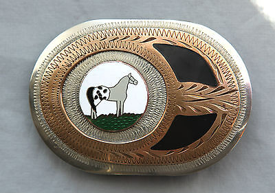 Vtg Western Flair Hand Made Engraved Appaloosa Horse Inlay Western Belt Buckle