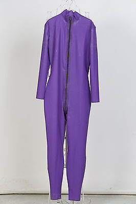 Free Shipping In Stock Men Purple Latex Catsuit Rubber Zentai