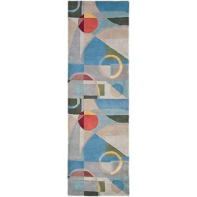 Safavieh Handmade Rodeo Drive Modern Abstract Blue/ Multi Wool Runner Rug (2'6 x