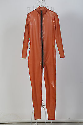 Free Shipping In Stock Men Transparent Brown Latex Catsuit Rubber Zentai