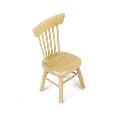 New Miniature Dining Furniture Natural Wooden Chair for 1/12 Dollhouse Accessory