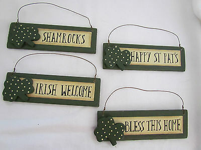St Patrick Themed Signs / ornaments ~ Irish Shamrock 4p Bless Home Welcome RO368