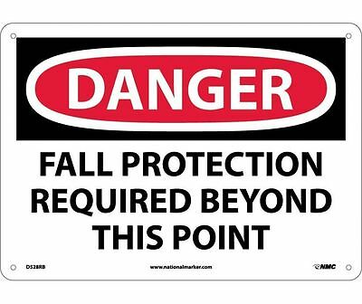"NMC D528RB Safety Sign ""FALL PROTECTION REQUIRED BEYOND THIS POINT"" 10"" x 14"""