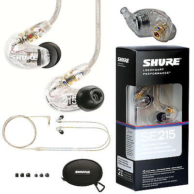 Shure SE215-CL Sound Isolating Earphones (Clear). U.S Authorized Dealer