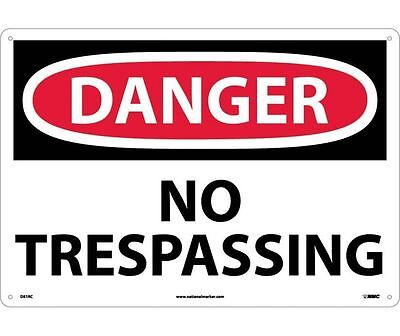 "NMC D81RC Safety Sign ""DANGER NO TRESPASSING"" 14"" X 20"" Rigid Plastic"