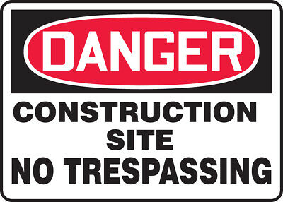 "NMC D248RC Safety Sign ""DANGER CONSTRUCTION SITE NO TRESPASSING"" 14"" x ""20"""