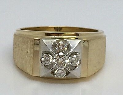 14K YELLOW GOLD MENS ESTATE HEAVY SOLID BACK DIAMOND RING 1/2CT SIZE 9.5