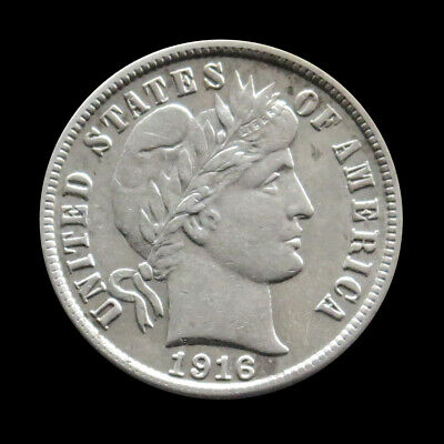 1916 -S Silver United States Barber Dime Coin About Uncirculated