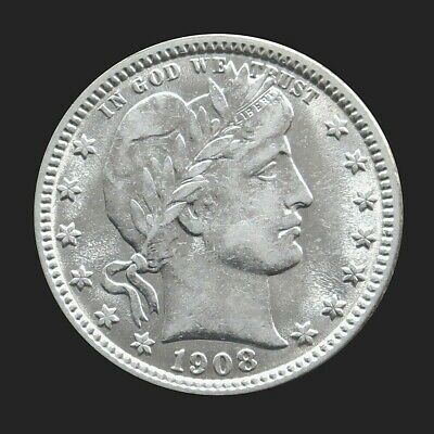 1908 -O Silver United States Barber Quarter Coin -About Uncirculated