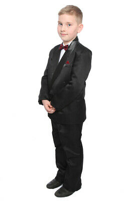 Boys Black Tuxedo Suit Dinner Jacket Trousers Shirt & Dickie Bow 10 -14 Years