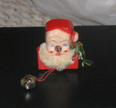 Vintage Santa Claus Christmas Pin Brooch Non Working Nose Light w/ Holly