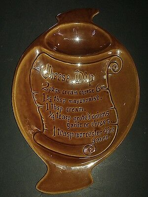 """Vintage California Pottery """"Cheese Dip"""" Recipe Platter Chip and Dip Server S-5"""