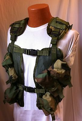 VEST TACTICAL ENHANCED LOAD BEARING WOODLAND CAMO US MILITARY LBV AIRSOFT NEW