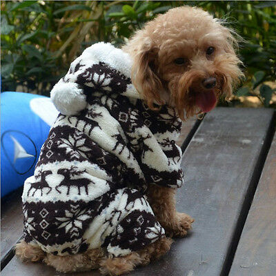 Small Pet Dog Clothes Jumpsuits Hoodie Winter Warm Polyester Apparel Size M