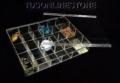 Crystal Clear Large 24 Compartment Storage Box With Sliding Lid